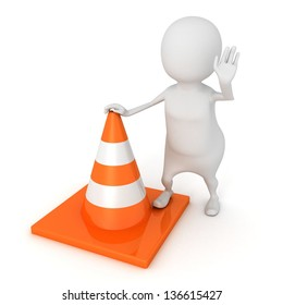 3d man in stop position with road construction traffic cone