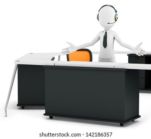 3d man support call center on white background