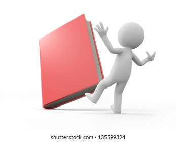 A 3d man surprised by a red book