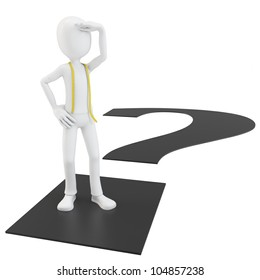 3d man tailor with question mark on white background