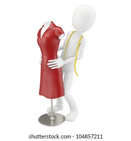 3d man tailor with red dress  mannequin  on white background