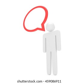 3d man with talk bubbles isolated over a white background. 3d rendering.
