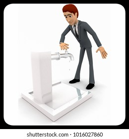 3d man trying to open public tap concept  on white isolated background , side angle view