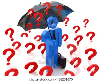 3d man with an umbrella and interest in the design of the information related to discounts and business. 3d illustration