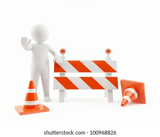 3D man in a under construction zone