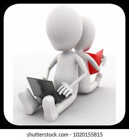 3d man using laptop and another reading book concept in white isolated background , side angle view