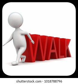 3d man walk  - text concept in white isolated background - 3d rendering ,  side angle view