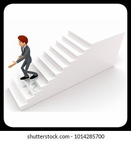 3d man walking down from stairs concept on white background, top angle view