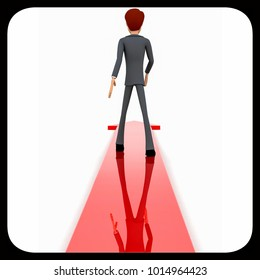 3d man walking through arrow concept on white isolated background - 3d rendering , back angle view
