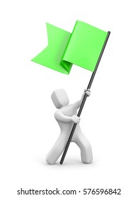 3d man waving green flag. 3d people collection. 3d illustration
