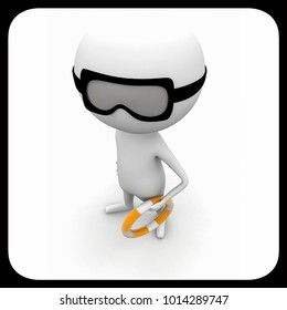 3d man wearing safety floating tube concept on white isolated background , top angle view