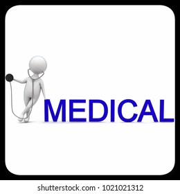 3d man wearing a sethoscope - medical concept in white isolated background , front angle view