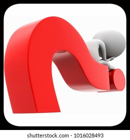 3d man worried sitting on a question mark concept on white isolated background , back angle view