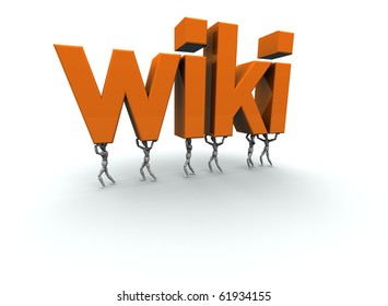 """3D mannequins carrying the word """"wiki"""" in orange."""