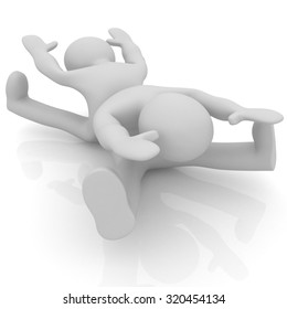 3d mans isolated on white. Series: morning exercises - flexibility exercises and stretching