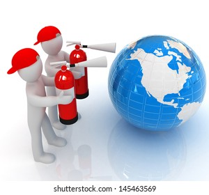 3d mans with red fire extinguisher extinguish earth