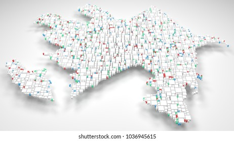 3D Map of Azerbaijan   3d Rendering, mosaic of little bricks - White and flag colors