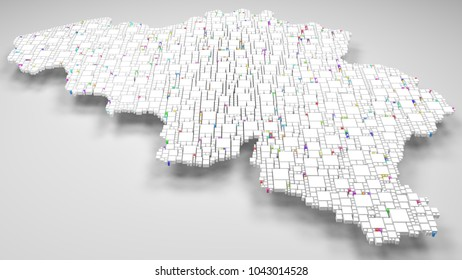 3d Map of Belgium - Europe   3d Rendering, mosaic of little bricks - White and flag colors