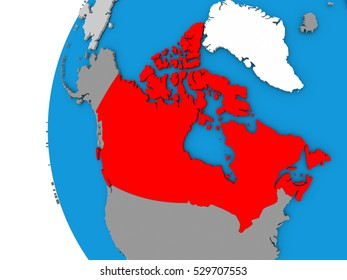 3D map of Canada focused in red on simple globe. 3D illustration
