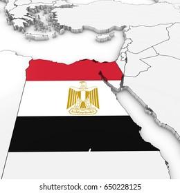 3D Map of Egypt with Egyptian Flag on White Background 3D Illustration