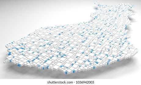 3D Map of Finland - Europe   3d Rendering, mosaic of little bricks - White and flag colors
