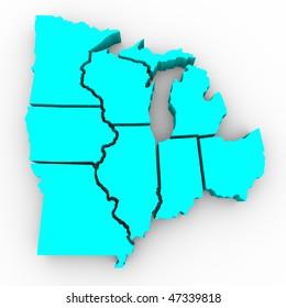A 3d map of the Great Lakes region of states: Michigan, Ohio, Indiana, Illinois, Minnesota, Wisconsin, Iowa and Missouri