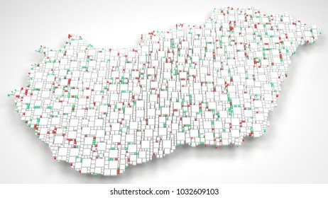 3D Map of Hungary - Europe   3d Rendering, mosaic of little bricks - White and flag colors