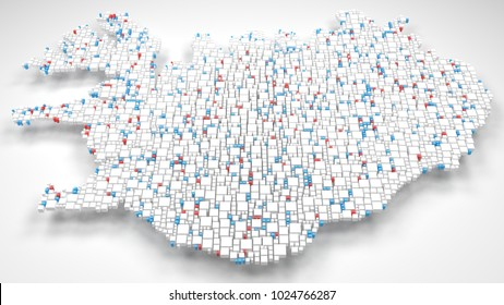 3D Map of Iceland - Europe   3d Rendering, mosaic of little bricks - White and flag colors