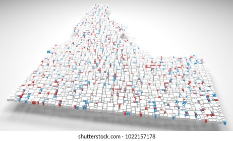 3D Map of Idaho - USA   3d Rendering, mosaic of little bricks - White and flag colors