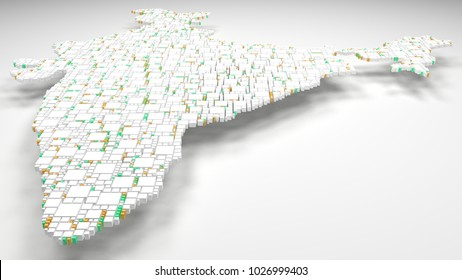 3D Map of India - Asia   3d Rendering, mosaic of little bricks - White and flag colors