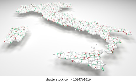 3D Map of Italy - Europe   3d Rendering, mosaic of little bricks - White and flag colors