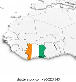 3D Map of Ivory Coast with Ivorian Flag on White Background 3D Illustration