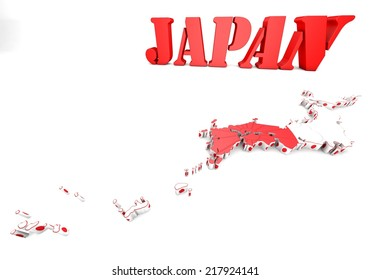 3d map of Japan with flag and coat of arms