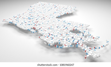 3D Map of Louisiana - USA   3d Rendering, mosaic of little bricks - White and flag colors. A number of 3684 little boxes are accurately inserted into the mosaic