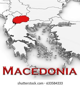 3D Map of Macedonia with Country Name Highlighted Red on White Background 3D Illustration