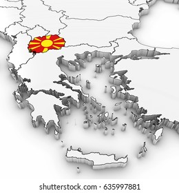 3D Map of Macedonia with Macedonian Flag on White Background 3D Illustration