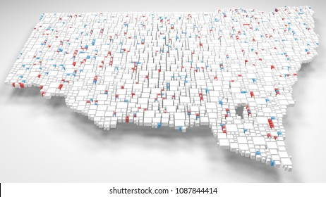 3D Map of New South Wales - Australia   3d Rendering, mosaic of little bricks - White and flag colors. A number of 3655 little boxes are accurately inserted into the mosaic
