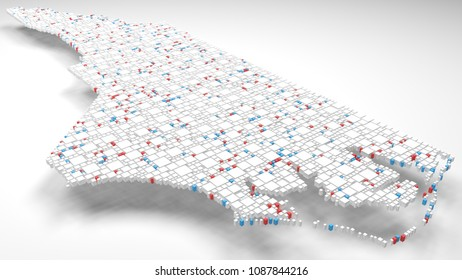 3D Map of North Carolina - USA   3d Rendering, mosaic of little bricks - White and flag colors. A number of 3838 little boxes are accurately inserted into the mosaic