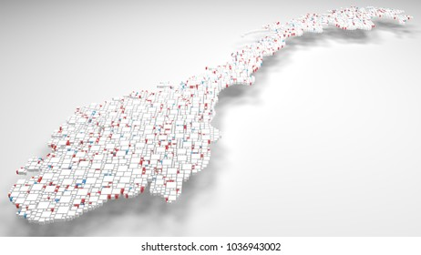 3D Map of Norway - Europe   3d Rendering, mosaic of little bricks - White and flag colors