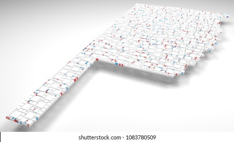 3D Map of Oklahoma - USA   3d Rendering, mosaic of little bricks - White and flag colors. A number of 3853 little boxes are accurately inserted into the mosaic