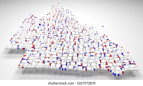 3D Map of Queensland - Australia   3d Rendering, mosaic of little bricks - White and flag colors