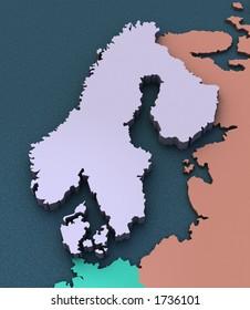 3D Map of Scandinavia