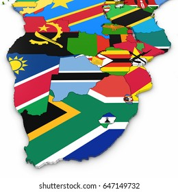 3D Map of Southern Africa with National Flags on White Background 3D Illustration