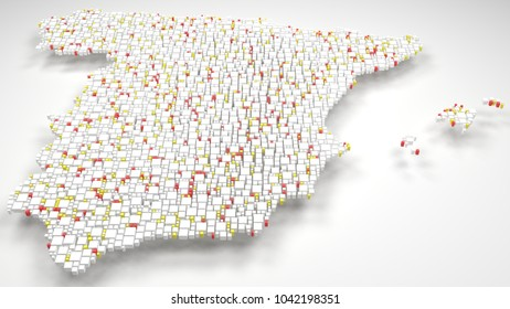 3d Map of Spain - Europe   3d Rendering, mosaic of little bricks - White and flag colors
