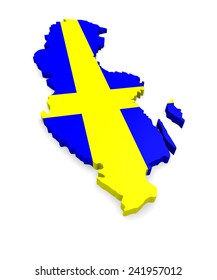 3d map of Sweden on a white background