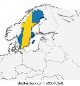 3D Map of Sweden with Swedish Flag on White Background 3D Illustration