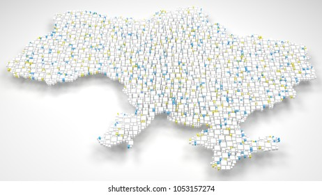 3D Map of Ukraine - Europe   3d Rendering, mosaic of little bricks - White and flag colors