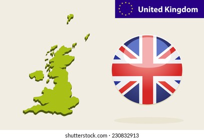 3D Map of United Kingdom.  United Kingdom Flag Glossy Button