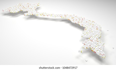 3D Map of Vietnam - Asia   3d Rendering, mosaic of little bricks - White and flag colors