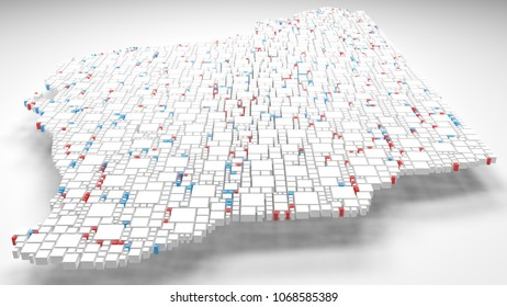 3D Map of Map of Western Australia  - Oceania   3d Rendering, mosaic of little bricks - White and flag colors